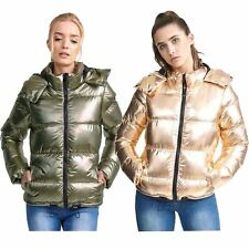 New Womens Metallic Gold Sliver Quilted Winter Coat Puffer Hooded Parka Jacket