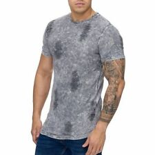 Extra Grande Gris T-Shirt Destroyed Camiseta Larga Stonewashed Clubwear