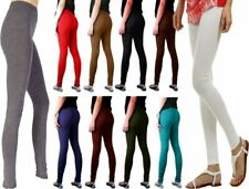 Womens Ladies Cotton Skinny Fit Plain Full Length Pants Soft Party Wear Legging
