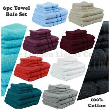 6 PIECE HIGH QUALITY TOWEL BALE SET SOFT SATIN BATH BATHROOM 100% COTTON TOWELS