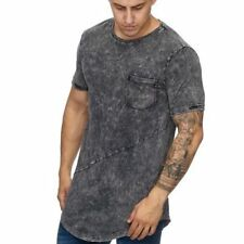 Extra Grande Gris T-Shirt Camiseta Larga Shaped Clubwear Stonewashed 933
