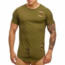 Extra Grande Camiseta Destroyed Larga Clubwear Rasgado 80 Mainstream Moda