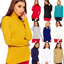 Women LadiesRib Ribbed Polo Turtle Roll Neck Stretch Long Sleeve Jumper Top 8-18