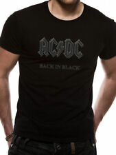 Acdc T-Shirt Back in Black Black Rock Unisex Taglie: M,L,XL,XXL Nuovo
