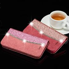 Bling Glitter Crystal Diamond Floral Leather Flip Wallet Case for Samsung Galaxy