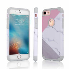 Shockproof 360°Hybrid Marble Printed Hard Case Cover For iPhone 6 6s 5 7 Plus 8
