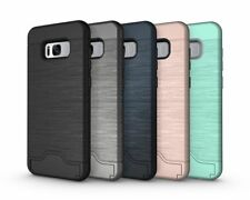 Hybrid Card Holder Stand Case For Samsung Galaxy S7 S8 S9 Plus Hard Bumper Cover