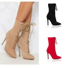 Womens Ladies High Stiletto Heel Lycra Pointed Toe Lace Up Ankle Boots Shoe Size