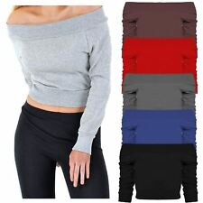 New Ladies Full Sleeve Off Shoulder Cropped Thermal Knitwear Mini Tops 8-14