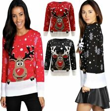 Long Sleeves Red Nose Rudolph Reindeer Knitted Jumper Top Women Winter Sweater