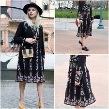ZARA AW2016 FLORAL BLACK EMBROIDERED DRESS SIZE M L BLOGGERS MEASUREMENTS BELOW