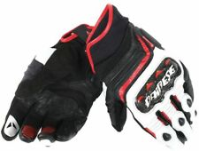 Guanto moto Dainese Carbon D1 Short in pelle uomo Black white lava-red