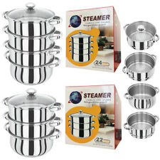 3 / 4 Tier Induction Hob Stainless Steel Steamer Pot Pan Glass Lid Cookware Set