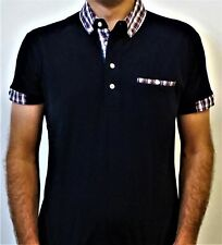 Men's Relco Navy Polo, Short Sleeve, With Tartan Check Button Down Collar.