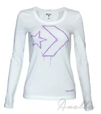 CONVERSE Star Chevron New Womens Girls Long Sleeve Top White Cotton T-Shirt BNWT