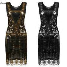 Women's O-Neck Sleeveless Sequined Cocktail Evening Party Bodycon Dress S5DY 01