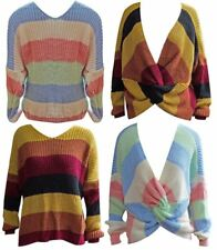 Ladies Womens Multicolor Striped Knit Long Sleeve Back Knot Novelty Sweater Lot