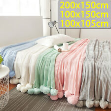 3 Sizes Knitted Knitt Throw Crochet Blanket Cotton Rug Yarn Bed Sofa Home Decor