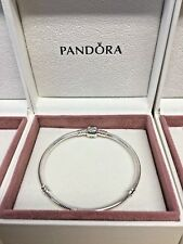 PANDORA Moments Silver Bracelet with Barrel Clasp 590702HV New in Box Genuine
