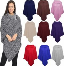 Ladies Winter 3 Button Wrap Shawl Jumper Lot Womens Cable Knitted Poncho Scarf