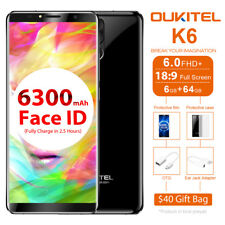 "Oukitel K6 6.0 "" 6300mah 21mp Android7.1 6g 64g NFC Face Id 4g Smartphone Wi-Fi"
