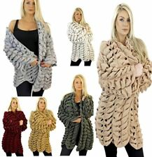 Womens Chunky Hole Knit Front Open Gathered Cardigan Ladies Italian Sweater Lot