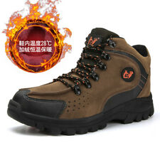 Men's Hiking Wool Fur Inside Sneakers Outdoor Trekking High Top Climbing Shoes