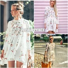 ZARA SS2017 FLORAL EMBROIDERED MULBERRY SILK DRESS SIZE M BLOGGERS