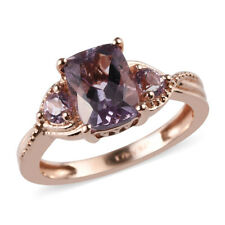New 925 Sterling Silver 14K Rose Gold Plated Pink Amethyst Ring Cttw 1.4