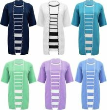 Womens Striped Twin Set Party Cardigan Ladies Short Sleeve Crew Neck Jumper Lot
