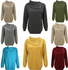 Ladies Long Sleeves Polo Neck Sweater Lot Womens 3 Buttons Knit Plus Size Jumper