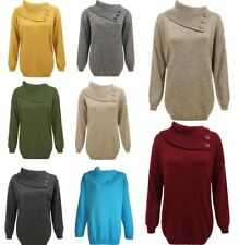 Plus Size Polo Neck 3 Buttons Full Sleeves Knit Jumper Womens Plain Sweater Lot