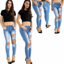 Womens Ladies Skinny highwaist ripped distressed acid wash denim jeans