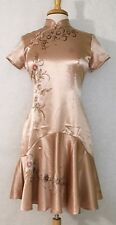 Modified Asian Chinese Cheongsam Qipao Fashion Dress Rose Gold with Hand Painted