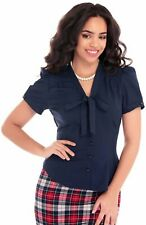 Collectif 40s Style Tura Navy Blue Short Sleeved Crepe Blouse