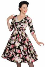 Hell Bunny Black Dahlia 50s Floral Cotton Dress with Circle Skirt
