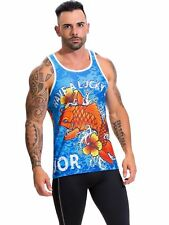 Jor 0560 Men's Printed Tank Top Mesh Muscle Shirt Sleeveless T-Shirt