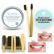 Natural Organic Activated Charcoal Tooth Teeth Whitening Powder BAMBOO BRUSH New