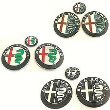 Badge Emblem Set For Alfa Romeo Car Steering Wheel Hood Trunk Front Rear Logo
