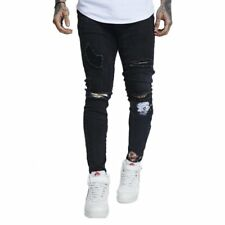 SikSilk Distressed Floral Patch Denims Washed  Pantalones Negro Hombre