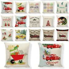 Christmas TreeThrow Pillow Case Truck Happy Camper Cushion Cover Home Decor