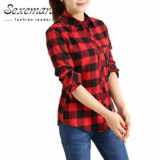 2017 New cotton Checkered plaid blouses shirt Cage female long sleeve casual sli