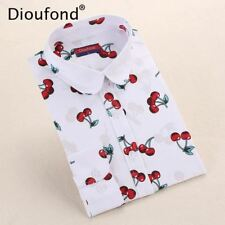 Dioufond New Floral Long Sleeve Vintage Blouse Cherry Turn Down Collar Shirt Blu