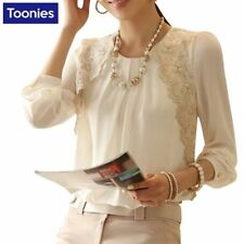 2017 New Brand Women Tops Shirt Long Sleeve Chiffon Blouse Women  Lace Patchwork