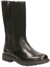 Clarks INES RAIN BLACK BOOTS Girls Leather Boots 10-4.5 F fit NEW BOXED
