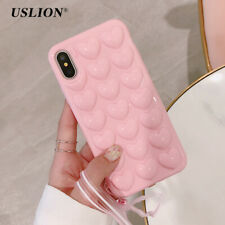 3D Love Heart Grip Silicone Case Cover With Lanyard For iPhone X 8 7 6 6S Plus