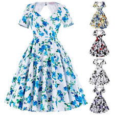 Dress Evening Pinup Cocktail Floral Retro Housewife Vintage Womens Party Swing
