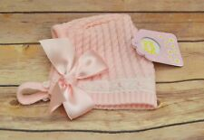 Knitted baby girls Vintage style bonnet, pink, size 0-3 months, 3-6 months, 6-9