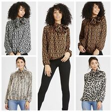 Women Ladies Leopard Snake Fendi Print Pussy Bow High Neck Party Blouse Top 8-16