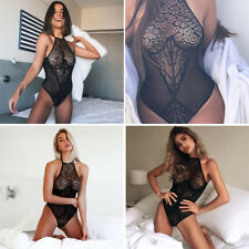 Womens Sexy/Sissy Bodysuit Lace Mesh Transparent Push Up Jumpsuit Floral INT